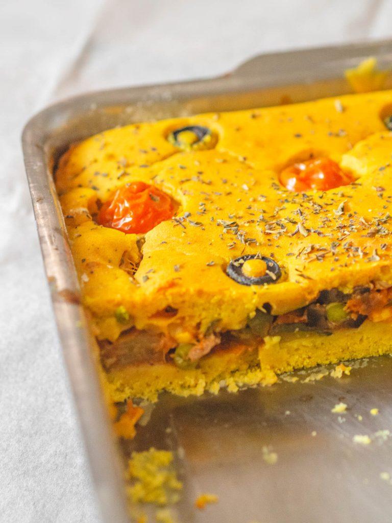 pastel de verduras vegano